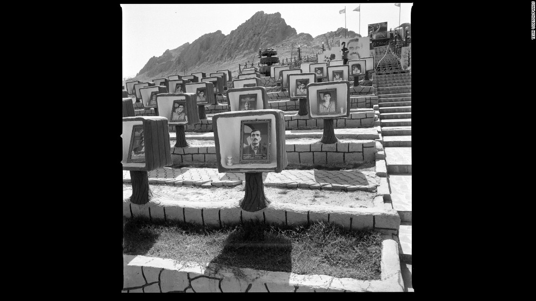 A cemetery on Mount Sinjar. It was set up by the Kurdistan Workers' Party and Kurdish militia forces to provide graves and memorials for fallen Peshmerga fighters. Peshmerga fighters helped liberate Sinjar last year.