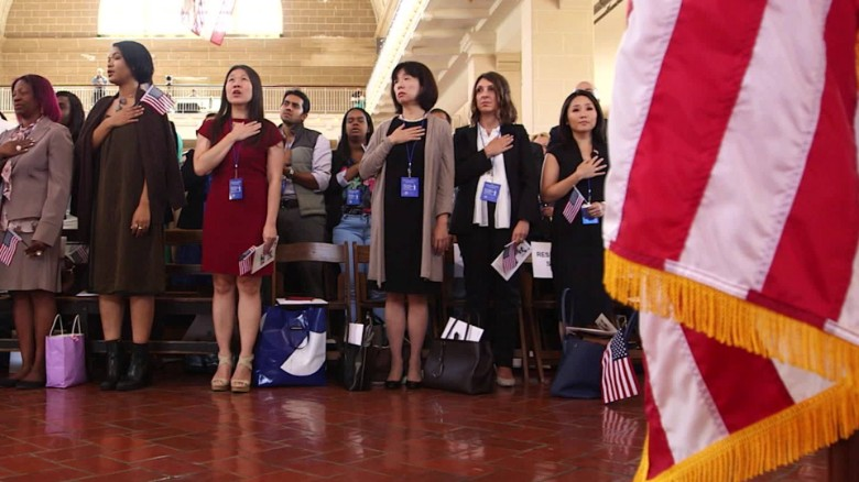 Becoming a citizen: History is made on Ellis Island