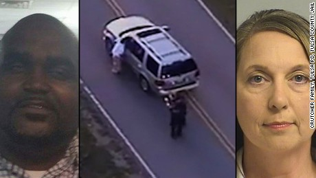 Terence Crutcher on left and Betty Shelby, who was acquitted, on right.