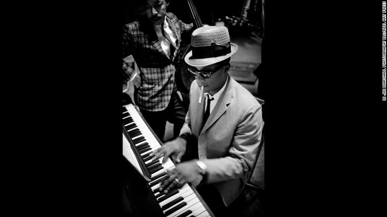 A musician plays the Newport Jazz Festival in Newport, Rhode Island, in 1963.