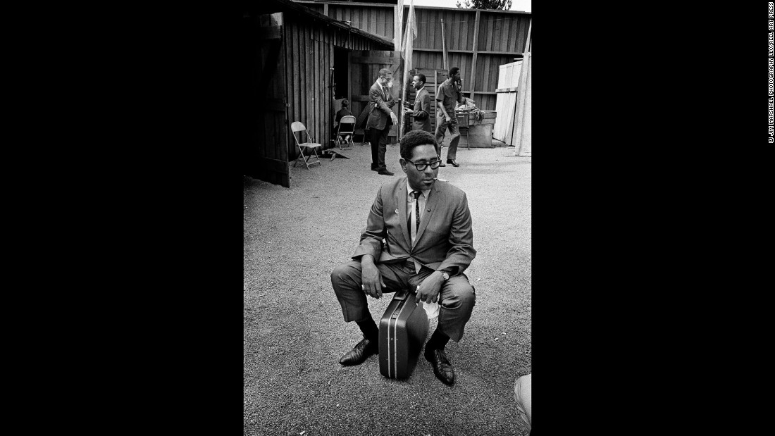 Dizzy Gillespie sits backstage at Monterey in 1963.