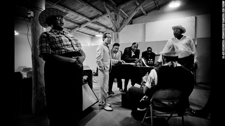 Big Mama Thornton, left, rehearses at Monterey with a group including Jon Hendricks, Muddy Waters and Memphis Slim in 1966.