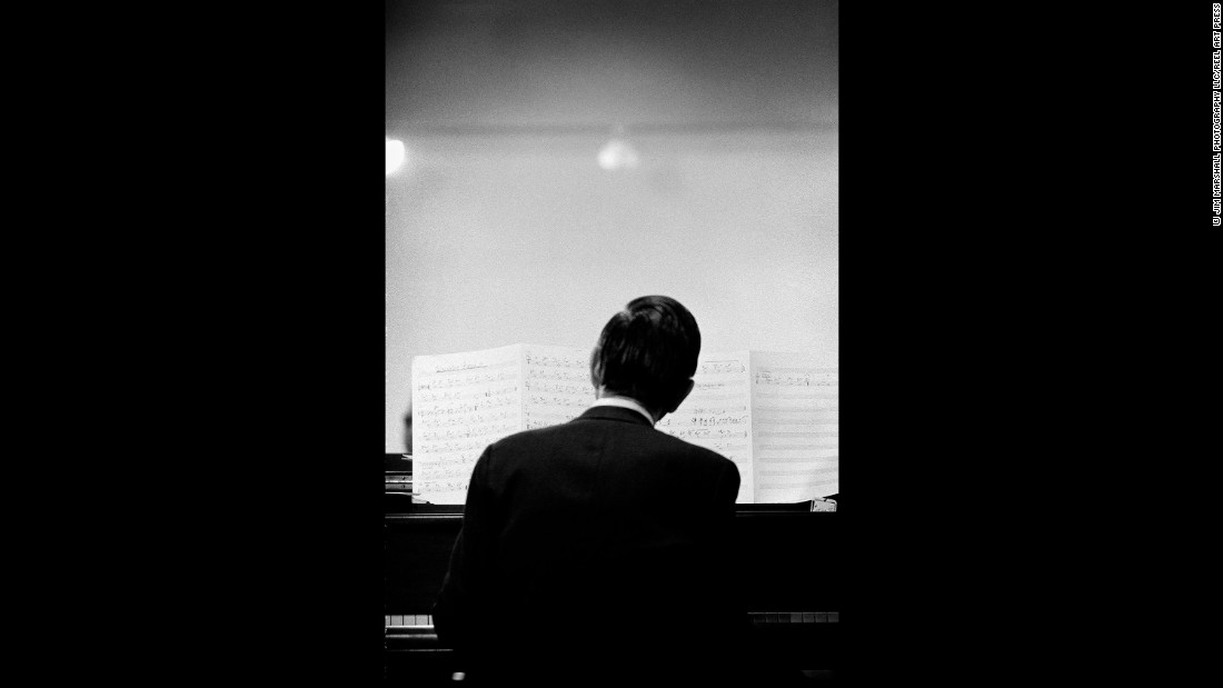 Gil Evans plays the piano at Monterey in 1966.