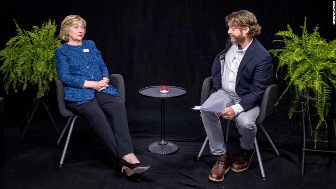 "Democratic presidential nominee Hillary Clinton appears with actor Zach Galifianakis in an episode of the online comedy series ""Between Two Ferns."" The video was released Thursday, September 22, by the website Funny or Die."