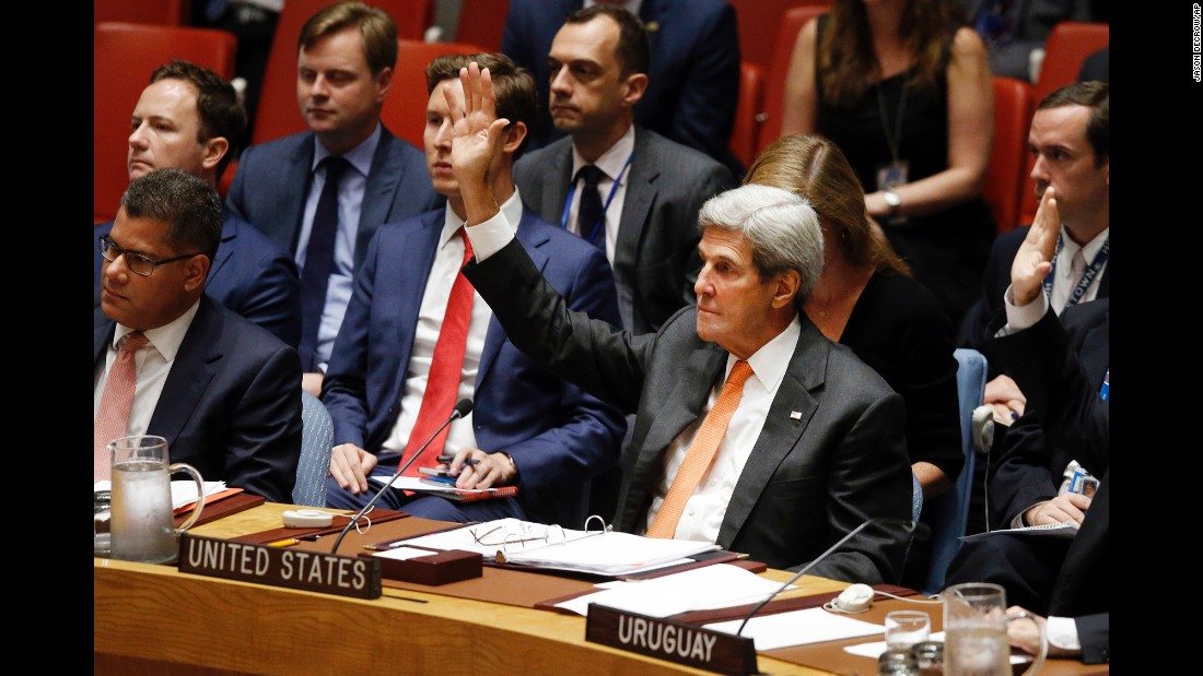 During a meeting of the UN Security Council on Friday, September 23, US Secretary of State John Kerry votes to adopt a resolution regarding the Comprehensive Nuclear Test Ban Treaty. The resolution, drafted by the United States, calls on countries to stop testing nuclear weapons. It was formally adopted by the council after a vote.