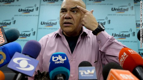 Venezuelan opposition spokesman Jesus Torrealba, from the Democratic Unity Roundtable (MUD), offers a press conference in Caracas on September 22, 2016.  Venezuela's opposition vowed Thursday to stage massive protests after the authorities quashed their hopes of ousting President Nicolas Maduro's government in a recall referendum. / AFP / FEDERICO PARRA        (Photo credit should read FEDERICO PARRA/AFP/Getty Images)