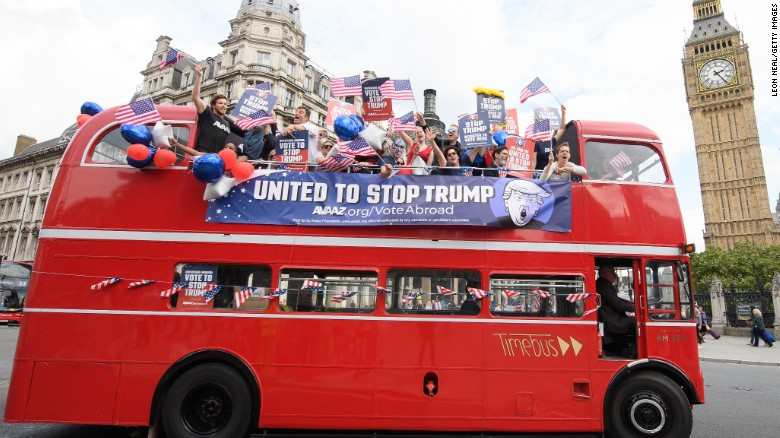 'Stop Trump' bus tours London