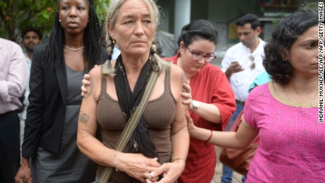 Fiona McKeown, the mother of Scarlett Keeling,  leaves court Friday in Panaji, India.