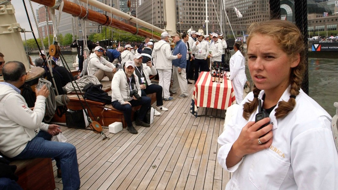 Crewmate Cragan Smith is pictured with guests in New York.