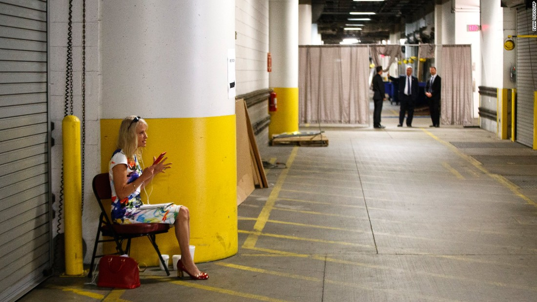 Kellyanne Conway, campaign manager for Republican presidential nominee Donald Trump, talks on the phone backstage before Trump's speaking event at the Shale Insight conference on Thursday, September 22, in Pittsburgh.