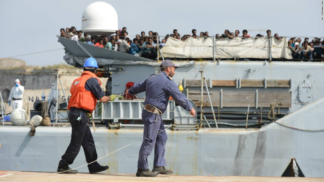Hundreds of East African refugees, including Eritreans, reach Sicily in mid 2015.