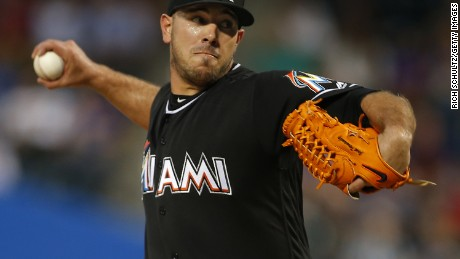 Jose Fernandez of the Miami Marlins delivers a pitch against the Mets in August 29 in New York.