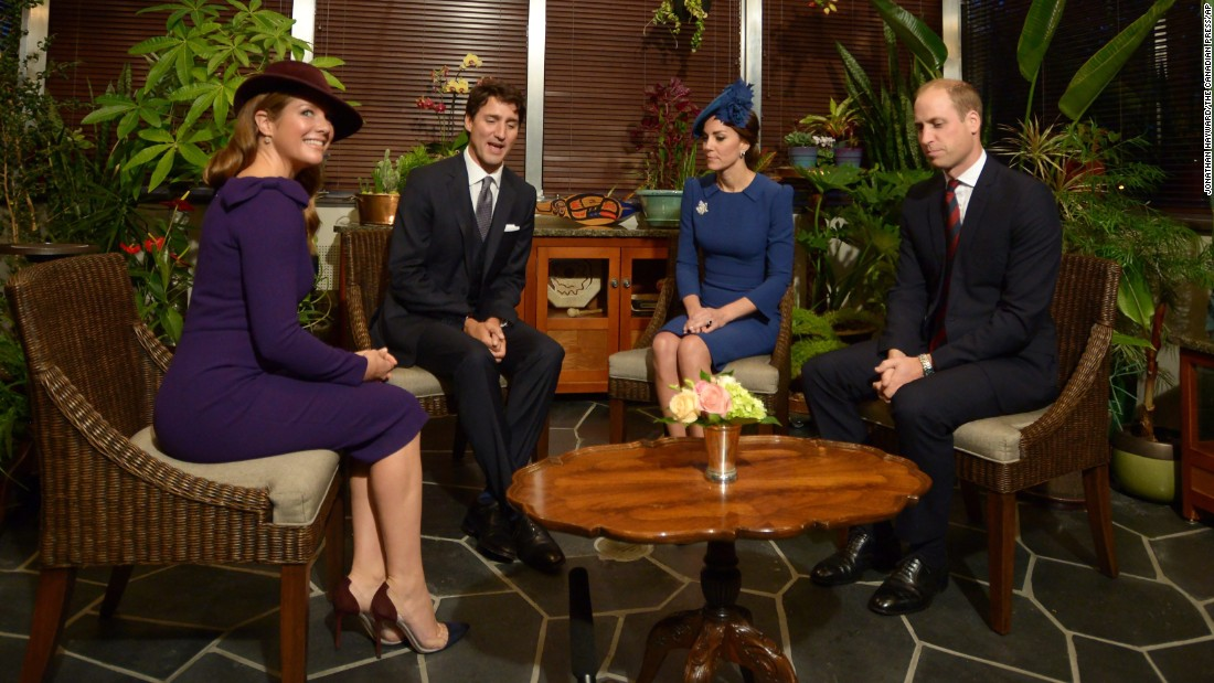 The Trudeaus join William and Catherine at the lieutenant governor's official residence in Victoria on Saturday, September 24.