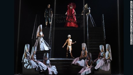 "Singers perform during a rehearsal of the opera ""Eliogabalo"" by Francesco Gabali, at the Garnier Opera in Paris shows"