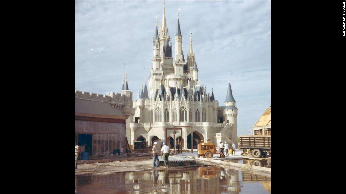 "After her grandparents passed away, Kelly Wise Valdes found a treasure trove of candid pictures taken by her grandfather, Chester ""Chet"" Wise, a master craftsman and woodworker who worked on the construction of the Magic Kingdom in Florida. Wise and his wife, Elizabeth ""Betty"" Wise, both worked at the park from 1969 until their retirement in the late 1980s. This is the backside of Cinderella Castle, an iconic symbol of the park."
