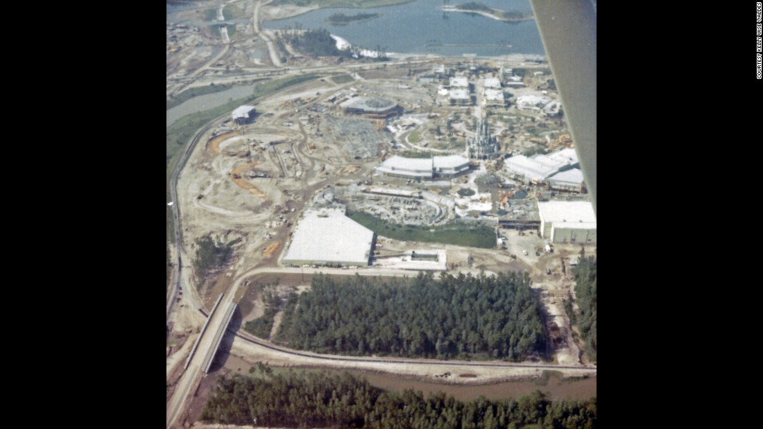 "<strong>Aerial view of the construction site —</strong> ""Walt Disney previously conducted flyovers of this property that was scouted out by his colleagues, eventually selecting a location along I-4 south of Orlando, Florida,"" Valdes said. ""Sadly, Walt Disney passed away prior to construction of the park."" The Magic Kingdom opened in 1971."