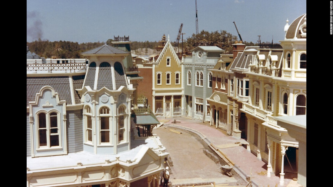 "<strong>Main Street —</strong> Most of the buildings on Main Street were built using ""forced perspective,"" which was used by most multistory buildings in the park, Valdes said. ""The first floors are built to regular size, but the additional floor facades are built to 5/8 and 1/2 scale, giving the illusion that the building is taller than it actually is."""