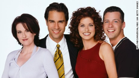 WILL & GRACE -- Season 1 -- Pictured: (l-r) Megan Mullally as Karen Walker, Eric McCormack as Will Truman, Debra Messing as Grace Adler, Sean Hayes as Jack McFarland  (Photo by Bill Reitzel/NBC/NBCU Photo Bank via Getty Images)
