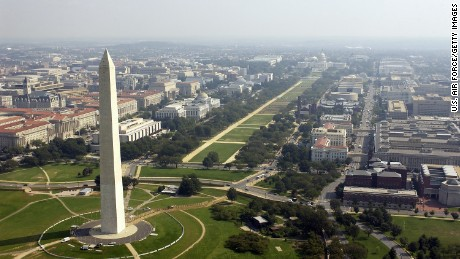Aerial photo of the Washington Memorial with the Capitol in the background in Washington D.C. on September 26, 2003.