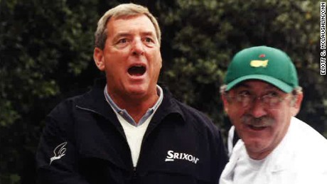 Fuzzy Zoeller goofs off with the crowd.
