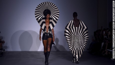 Models walk the runway at the Gareth Pugh show during London Fashion Week Spring-Summer collections 2017.