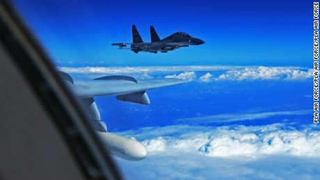 A file image of two Chinese Su-30 fighter jets. The same type of jets were said to have intercepted a US WC-135 Wednesday, according to the US.