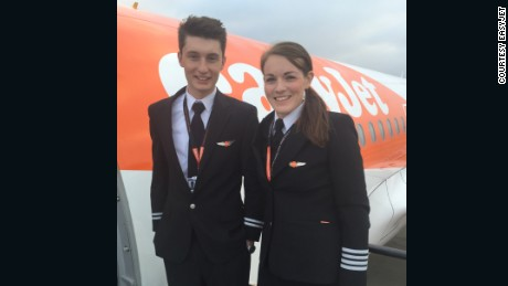 Young guns: Easyjet pilots Luke Elsworth and Kate McWilliams.