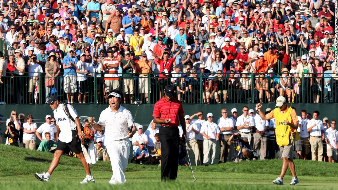 Woods was beaten again at Hazeltine in the 2009 PGA Championship -- the first time he hadn't won a major after leading going into the final round. YE Yang became Asia's first major champion, and the South Korean has yet to win another.