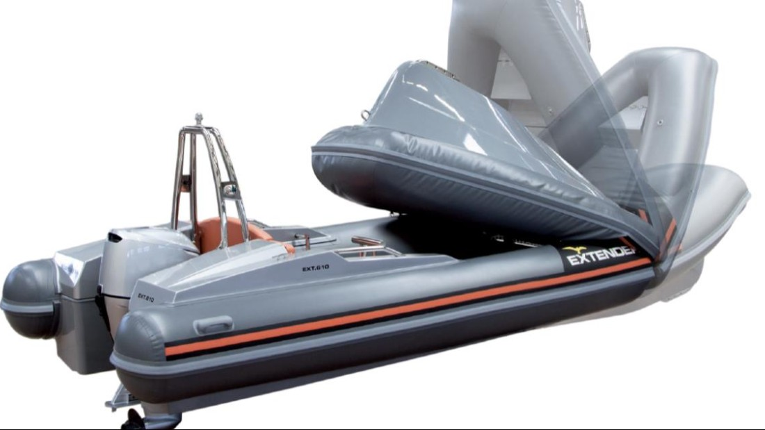 "But if your budget doesn't quite stretch that far, why not treat yourself to one of the many ""toys"" on offer in Port Hercules? This is the Ext 610, a space-conscious speedboat that folds in less than two minutes to allow for easy storage."