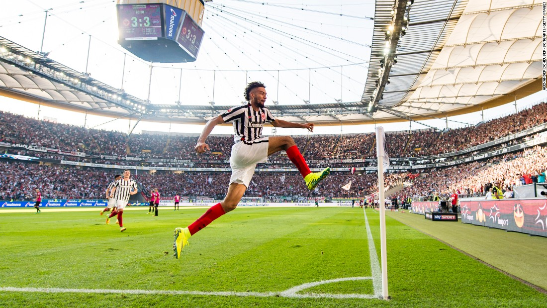 Michael Hector celebrates his goal against Hertha Berlin during a Bundesliga match in Frankfurt am Main, Germany, on Saturday, September 24. The late goal came in second-half stoppage time and earned Eintracht Frankfurt a 3-3 draw.