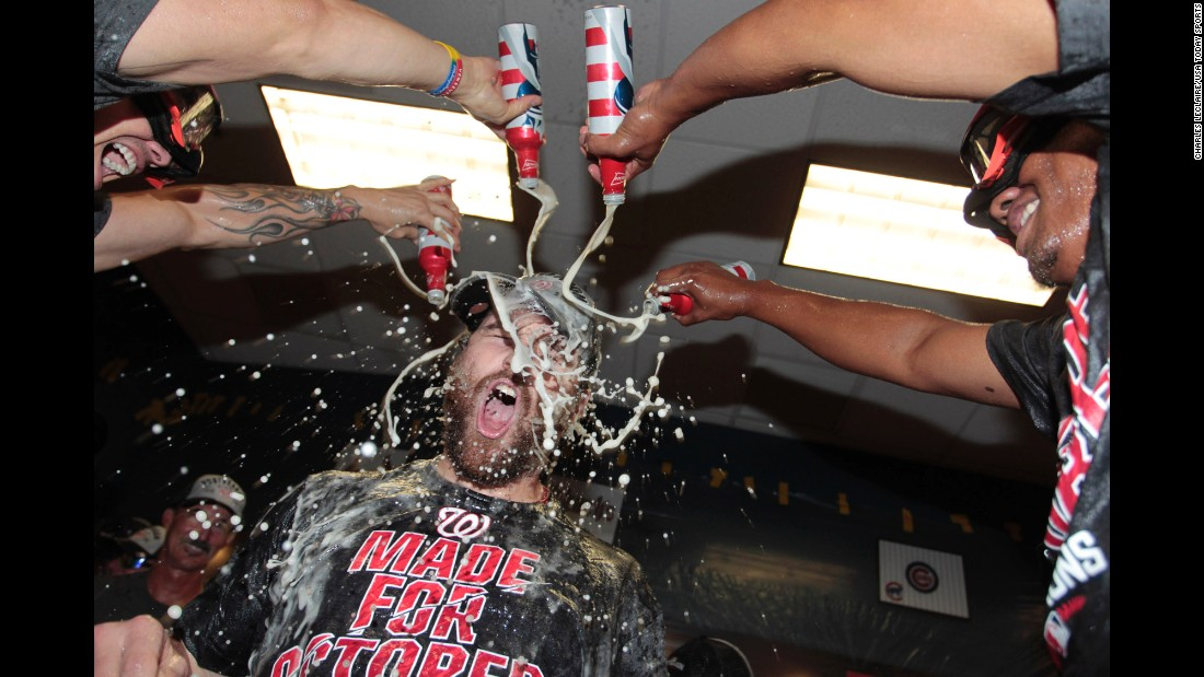 Members of the Washington Nationals pour beer on second baseman Daniel Murphy after the baseball team clinched a division title on Saturday, September 24. They've won the National League East in three of the past five seasons.