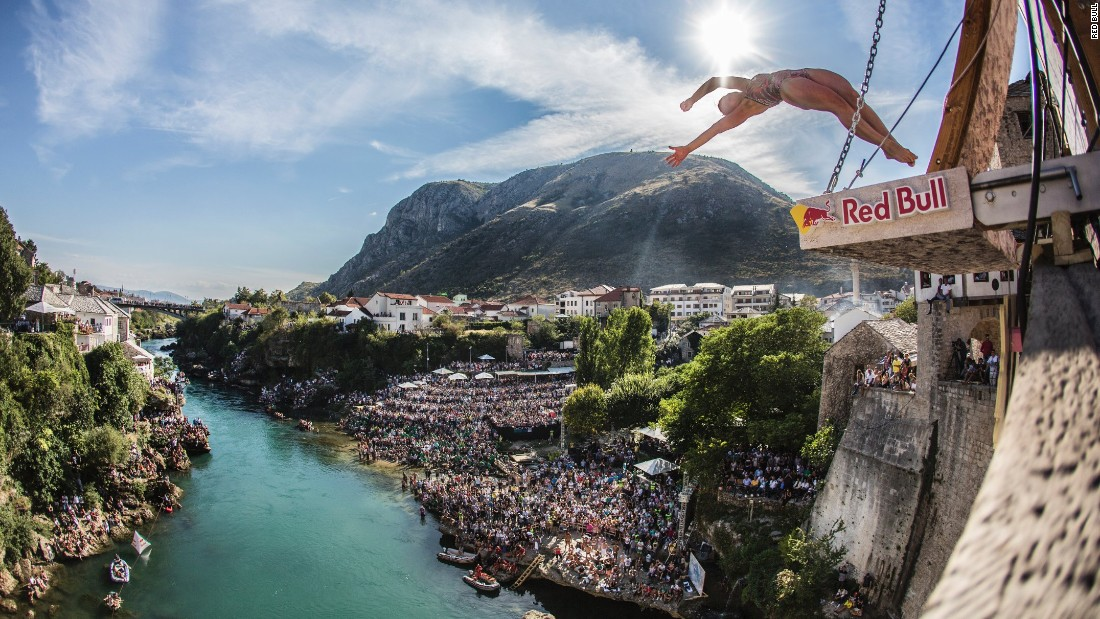 Lysanne Richard jumps from the Stari Most bridge in Mostar, Bosnia-Herzegovina, as she competes in the Red Bull Cliff Diving World Series on Saturday, September 24. Richard won the women's competition in Mostar.