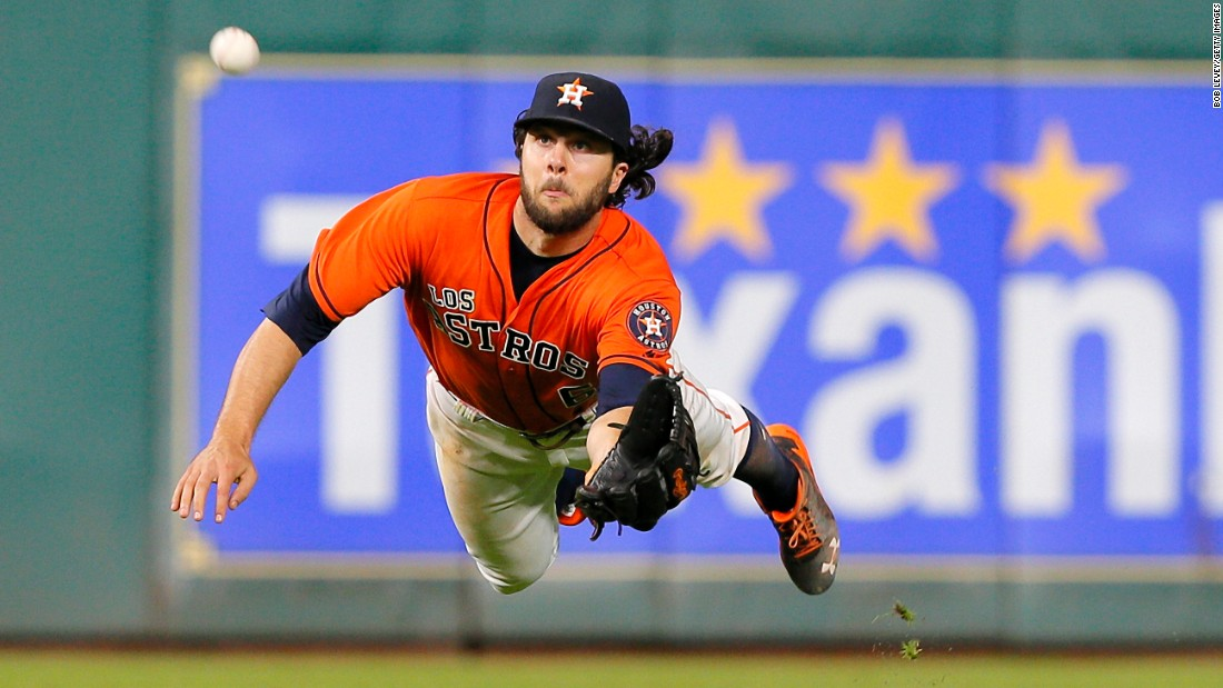Houston's Jake Marisnick makes a diving catch against the Los Angeles Angels on Saturday, September 24.