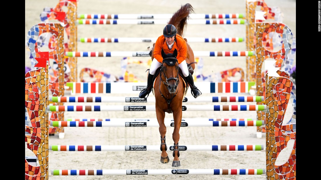 Gerco Schroder, aboard Glock's London, competes for the Netherlands in a Nations Cup show-jumping event in Barcelona, Spain, on Thursday, September 22.