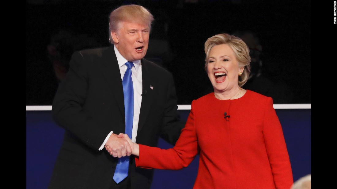 Republican presidential nominee Donald Trump shakes hands with Democratic presidential nominee Hillary Clinton at the first presidential debate on Monday, September 26.