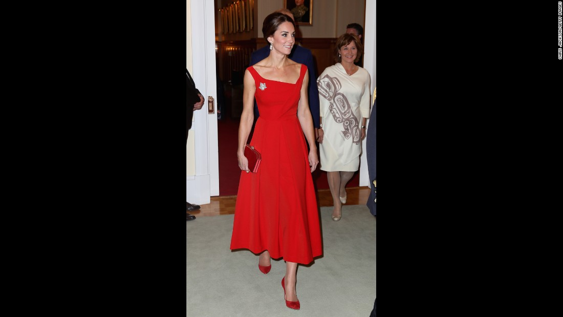 Catherine attends a reception at the Government House in Victoria, British Columbia, on September 27.