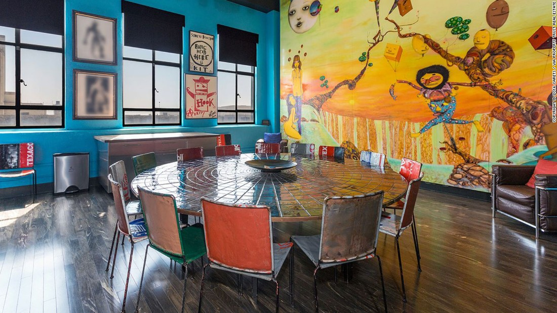 Johnny Depp has put his Los Angeles residence on the market for $12.7 million. The spectacular property shows the actor's love of art, including this eye-catching mural by Brazilian artist twins OSGEMEOS, which takes up an entire wall of the dining room.