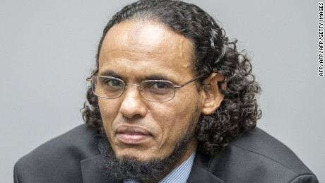 Islamist leader Ahmad Al Faqi Al Mahdi looks on during an appearance at the International Criminal Court during his trial on charges of destroying ancient Timbuktu artifacts.