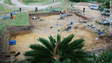 A team of archeologist excavate the Kasturen castle site.