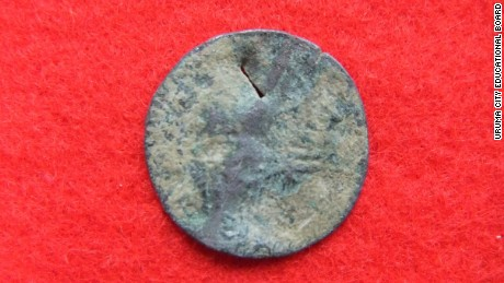 The front of an Ottoman coin. One of the ten ancient coins that were discovered in Katsuren castle.