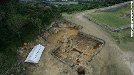 An aerial view of the Kasturen castle excavation site.