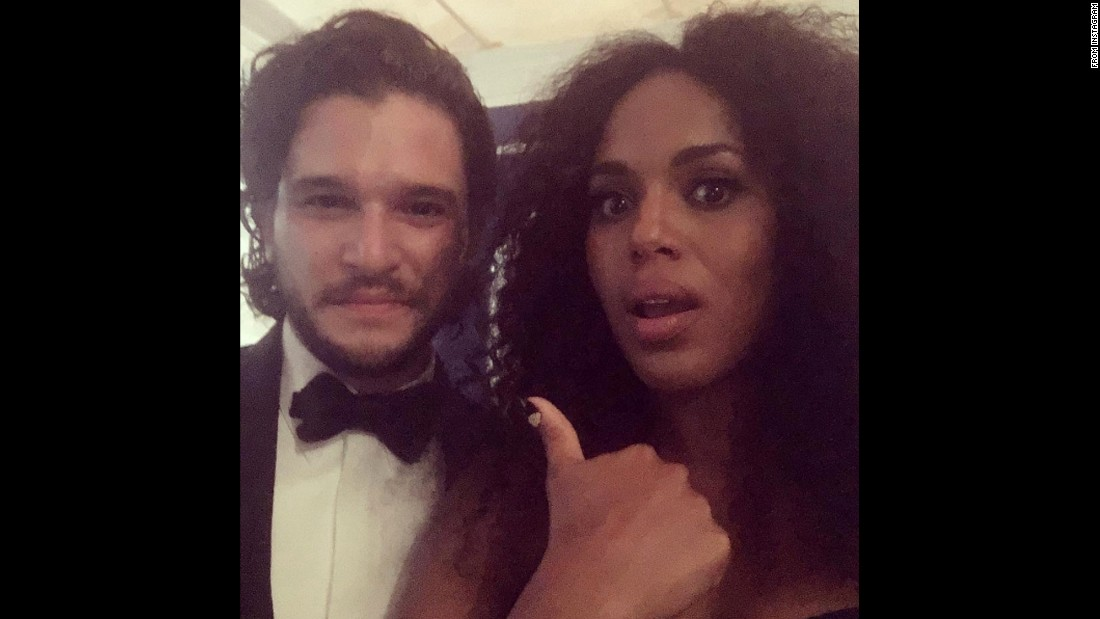 """Yo! He's ALIVE!!!!!"" <a href=""https://www.instagram.com/p/BKhS_4WBD_U/"" target=""_blank"">said actress Kerry Washington</a> as she snagged a photo with Kit Harington at <a href=""http://www.cnn.com/2016/09/18/entertainment/emmy-awards-2016/"" target=""_blank"">the Emmys</a> on Sunday, September 18. She was referring to Harington's character on the show ""Game of Thrones."""
