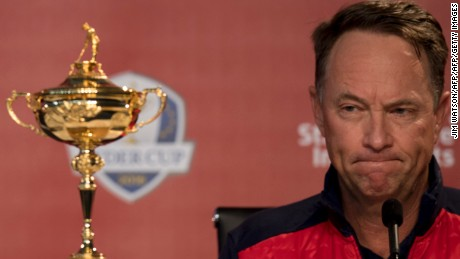 US Captain Davis Love III takes questions during the captain's press conference ahead of the 2016 Ryder Cup matches at Hazeltine National Golf Course in Chaska, Minnesota, September 26, 2016. / AFP / JIM WATSON        (Photo credit should read JIM WATSON/AFP/Getty Images)