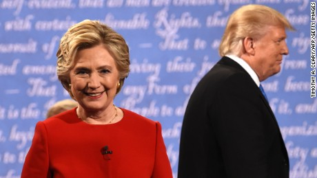Democratic nominee Hillary Clinton and Republican nominee Donald Trump leave the stage after the first presidential debate at Hofstra University in Hempstead, New York on September 26.