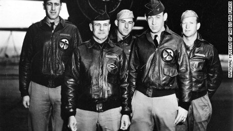 "Doolittle's crew: From left: navigator Henry ""Hank"" Potter, pilot James ""Jimmy"" Doolittle, bombardier Fred Braemer,  co-pilot Richard ""Dick"" Cole, engineer/gunner Paul Leonard"