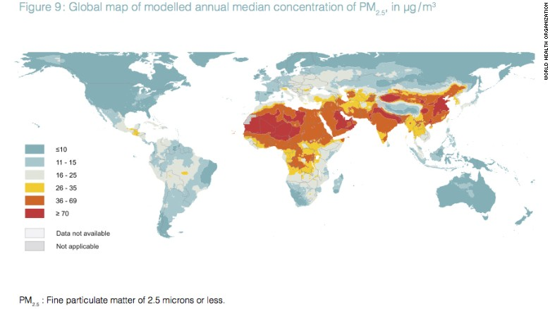 A New Map Of Annual Levels Of Pm2 5 Released By The World Health