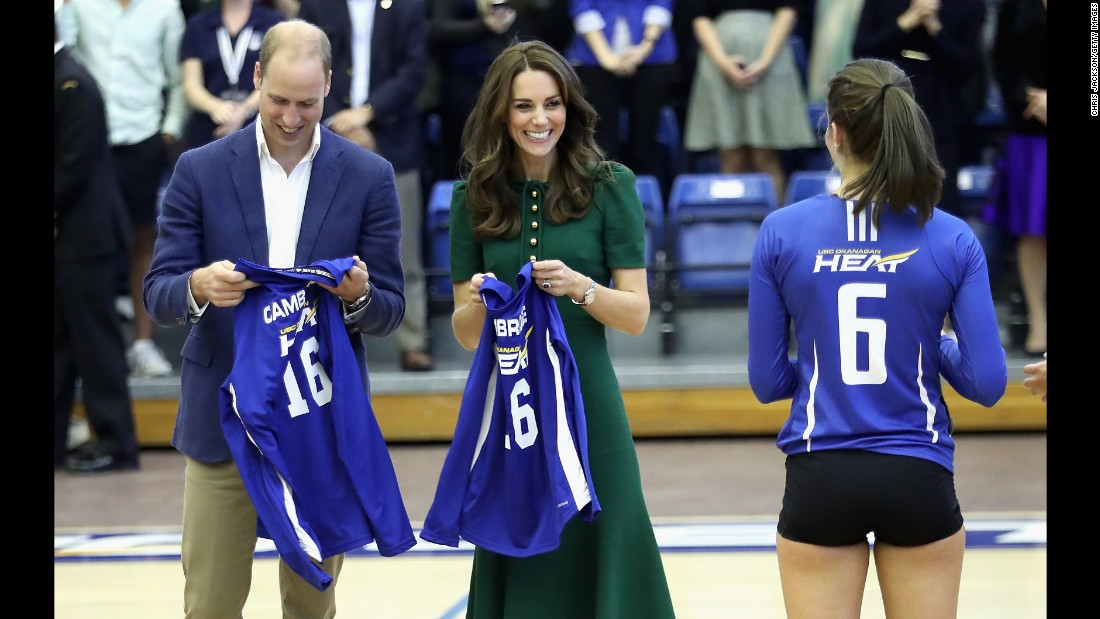 William and Catherine attend a Kelowna University volleyball game in Kelowna, British Columbia, on September 27.