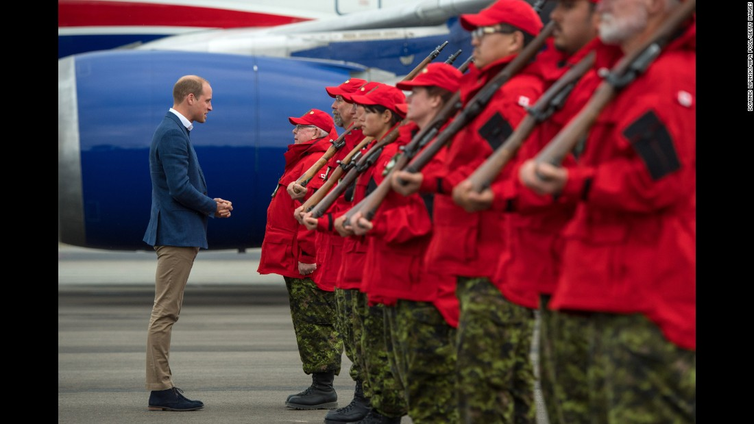 William meets Canadian Rangers as he arrives at Whitehorse Airport on Tuesday, September 27.