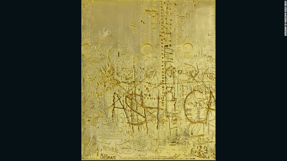 Rudolf Stingel's work often makes an appearance on T.O.P's Instagram feed. In this piece the artist used gold-plated copper and marked it with individual words, initials, and phrases.
