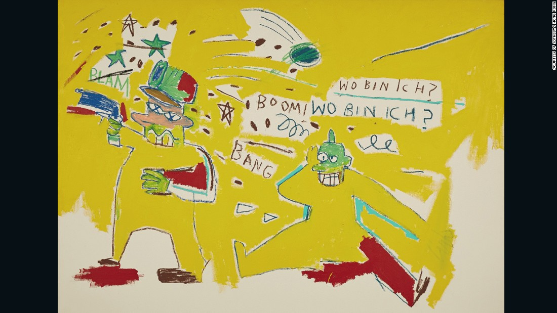 The year 1983 saw some of the most productive and successful days in Basquiat's artistic career. This work embodies a limited yet acidic palette of primary colors and his signature yellow.